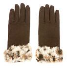 Women's Leopard Faux Fur Cuff Black Winter Gloves *UK Pro-Seller**Fast Dispatch*