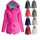 NEW LADIES QUILTED HOODED WOMENS BELTED PADDED JACKET COAT SIZE 8 10 12 14 16