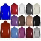 Womens Long Sleeves Turtle Polo Neck Ribbed Ladies Sweater Jumper T Shirt Top