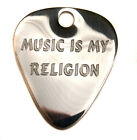 "Engraved S/Steel 1.2mm ""my Religion"" Guitar Plectrum Pick, Chain, Personalised"