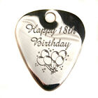 "Engraved S/Steel 1.2mm ""Birthday"" Guitar Plectrum Pick, Chain, Personalised"