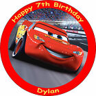 "CARS LIGHTNING MCQUEEN EDIBLE 7.5"" PERSONALISED BIRTHDAY CAKE TOPPER"