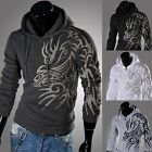 Men Stylish Casual Hoodies Dragon Printed Hooded Pullover Sweat Jacket Coat W113