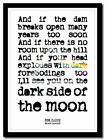 PINK FLOYD - Brain Damage - moon - lyric poster ❤ typography art print - 4 sizes