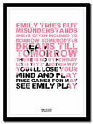 PINK FLOYD - See Emily Play ❤song lyric poster in 4 sizes ❤ typography art print