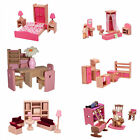 1/12 DOLLS HOUSE FURNITURE PINK WOODEN SET FOR ELC ROSEBUD dollhouse