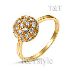 TTstyle 18K Gold Plated 9mm Ball Fashion Ring With CZ
