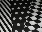 Black & White print Polycotton Fabric 3 designs Fat quarter 50x55cm Craft