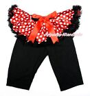 XMAS Minnie Dots Tutu Black Legging Red Bow Dress Pettiskirt Pants Tight 1-7Y