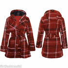Womens Red Tartan Coat Ladies Check Print Warm Winter Belted Button Hood Jacket