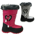 NEW GIRLS RED ROCK WINTER SNOW BOOTS KIDS FUR THERMAL SKI MOON WELLINGTONS BOOTS