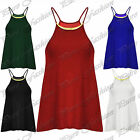 Womens Ladies Gold Metal Plated Spaghetti Thin Strap Camisole Seamless Top Vest