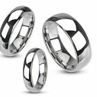 Unisex Tungsten Carbide Polished Plain Wedding Band Ring Comfort Fit Size 5 - 13