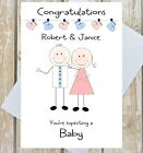 PERSONALISED EXPECTING A BABY CARD CONGRATULATIONS ON PREGNANCY COUPLE SINGLE