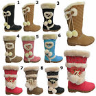 Girls Snow Grip Sole Winter Fur Kids Infants Mid Calf Boots Shoes UK All Sizes