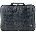 11~17 inch laptop bag pouch Black Crocodile pattern Faux Leather memory foam new