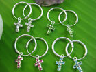 925 sterling silver 14mm sleepers cz cross charm earring - white green pink blue