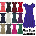 NEW WOMENS FLARED FRANKIE BELTED CAP SLEEVE LADIES SKATER DRESS SIZE 8-26