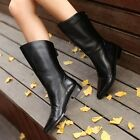 SZ Ladies Mid Calf Boots Shoes Back Zip Black Ankle Boots Pointed Shoes Womens