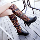 WOMENS CHIC LEOPARD PARINT BUCKLE STRAP WEDGE HEELS GOTH KNEE HIGH PULL ON BOOTS