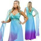Adult Sea Queen Greek Goddess Costume Mythology Dress Up Halloween Party Outfit