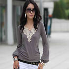 Women Lace V-neck Kimono Long Sleeve Top Blouse T-shirt