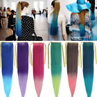 Fashion Long Straight Cosplay Colorful Ponytails Clip-in Hair Extensions KAP26