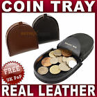 Mens Gents Small Leather Coin tray purse wallet change Black Brown Tan men NEW