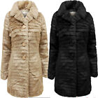 New Womens Plus Size Long Faux Fur Vintage Jacket Warm Winter Coat 18-26