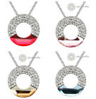 18K WGP/Crystal Ring/Circle Pendant Necklace/RGN219/204/218/221
