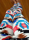 PONTI Blue Pink Western AZTEC TRIBAL leggings pants PONTI THICK Polyester S M
