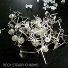 100 x 6mm Silver Plated/Gold Plated Earring Posts/Blanks Findings + Rubber Backs