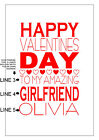 PERSONALISED VALENTINES DAY CARD CHOOSE YOUR OWN WORDS NAME CUSTOMISE RED