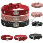 Pet Dog Puppy Collar Rhinestone PU Leather Diamond Crown Bling Buckle Neck Strap