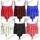 Womens Full Mesh Lace Dip Handkerchief Hanky Hem Strappy Ladies Crop Vest Top