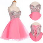 STOCK Short Beaded Cocktail Ball gown Graduation Evening Formal Party Prom Dress
