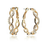 Gold filled Diamonds Round Hoop Pierced Earrings CA045