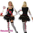 Ladies Queen of Hearts Jester Poker Playing Card Fancy Dress Party Up Costume