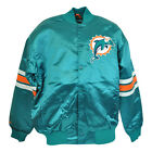 NFL Miami Dolphins Satin Throwback Mens Big Jacket Snap Button Up Sweater