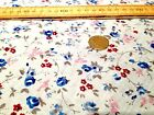 FLORAL POLYCOTTON FABRIC MULTI COLOURED BOUQUET *   MIX of BLUE RED PINK BROWN