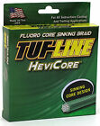 TUF LINE HEVI CORE BRAIDED FISHING LINE-- 10 lbs - 150 YDS YELLOW, BLUE, GREEN