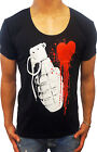 NEW MENS BLACK DEEP SCOOP T SHIRT HEART GRENADE CASUAL GYM FASHION PUNK MUSCLE