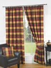 Luxury Imperial Check Wine Lined Pencil Pleat Tape Curtains