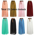 Lady Women Chiffon Maxi Skirts Jupes Pleated Retro Elastic Waist | 25 Couleur
