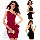 One Shoulder Peplum Sexy Mini Bodycon Formal Evening Prom Cocktail Party Dress