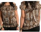 GORGEOUS CHIFFON ANIMAL PRINT OFF THE SHOULDER TUNIC TOP SIZE 16 18 20 BNWT