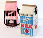 Women Fashion Canvas Shoulders Bag Cute Milk Cartons Bag Pink Wihte WBG887