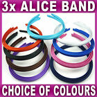 Set of 3 Alice bands headbands hair accessories set bright dark school colours