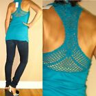 $64 C&C California Raceback Croshet 100% Cotton Top Bright Teal Blue M,L NWT
