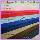 "R01 - R11 : Lot of 5 Yard 10 Color Grosgrain Ribbon 3/8"" or 10 mm / Mix"